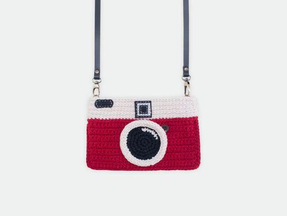Crochet Vintage Camera Purse Red Color by meemanan on Etsy