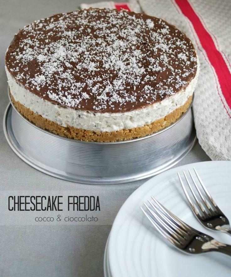 cheesecake fredda cocco e cioccolato senza cottura - raw coconut and chocolate cheesecake