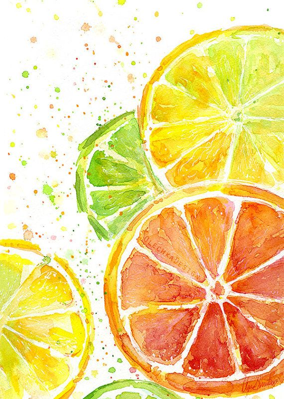 Citrus Fruit Watercolor Art Print, Food Painting, Kitchen Decor, Juicy, Colorful Green Yellow Orange