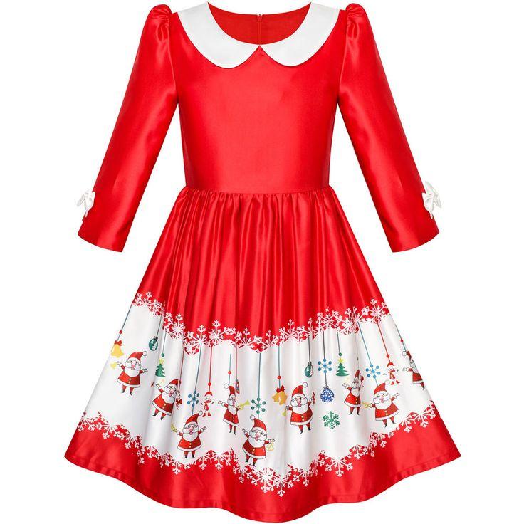 Flower Girl Dress 3/4 Sleeve Christmas Santa Jingle Bell Snow Age 4-12 Years