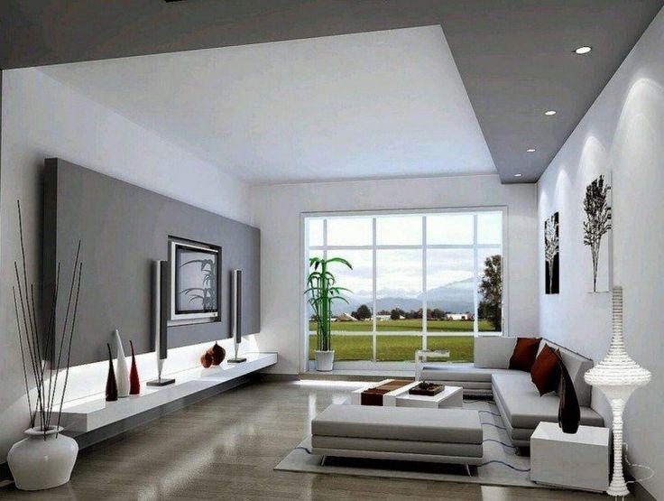 Déco salon gris avec spots encastrés et éclairage indirect