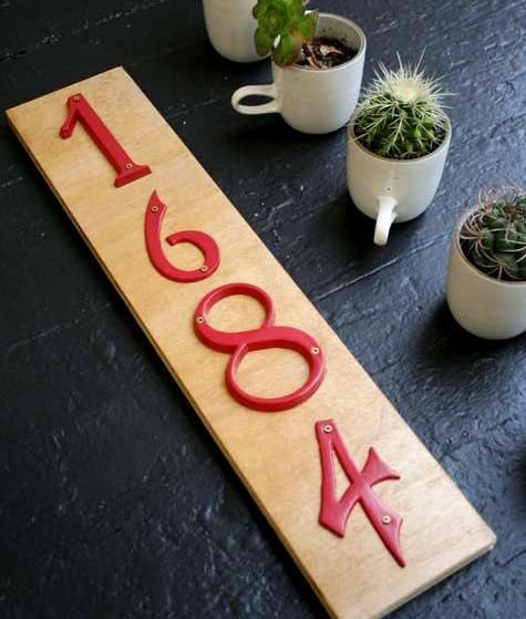 home number - I did this at my house - black wood, silver numbers.  Look amazing!