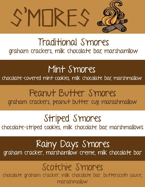 S'mores Bar Menu Printable with Lots of New S'mores Recipes