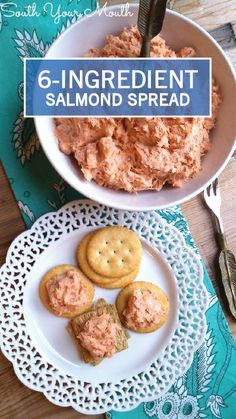 A simple salmon-based cracker spread made with just 6 ingredients is the perfect addition to any party. You can also add other pairings like slices of cheese or vegetables for dipping if you really want to go all out with this appetizer tray.
