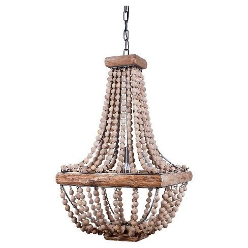For over tub: Make vintage style come to life with the Metal Chandelier with Wood Beads. This retro hanging light turns the traditional chandelier on its head, swapping out crystal teardrops for weathered wood beads. A fabulous fit for a boho beach pad, or hanging over a welcoming and colorful hallway rug. The 40 watt bulb produces a soft, golden glow—making this wood chandelier a mellow mood setter in any setting.