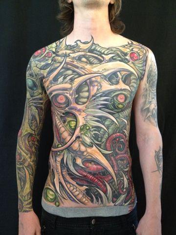 Ron Earhart - Analog Tattoo Arts Kolectiv. San Jose, CA. Full Front. Bio Mechanical Organic