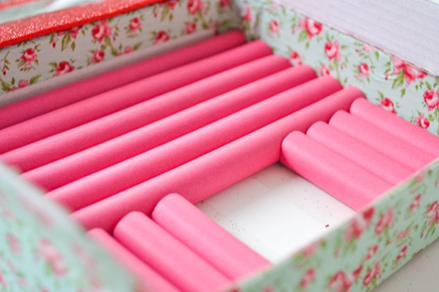 DIY Ring Box Guest Post. You Need: A sturdy cardboard/plastic box. Glitter foam sheet/tape. Pretty Washi Tape. Hair Foam Curlers in coordinating colors.A mirror to fit inside the box's lid. Faux Pearls. A Pair of Scissors. Double-sided Tape and E-6000.