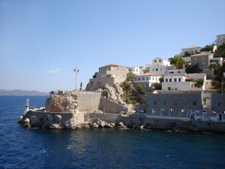 The island of Hydra in the Aegean Sea is known for its crescent-shaped harbor