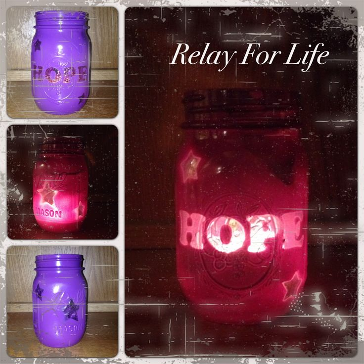 Relay For Life Mason Jar Luminaries - Stickers, Spray paint and a tea light