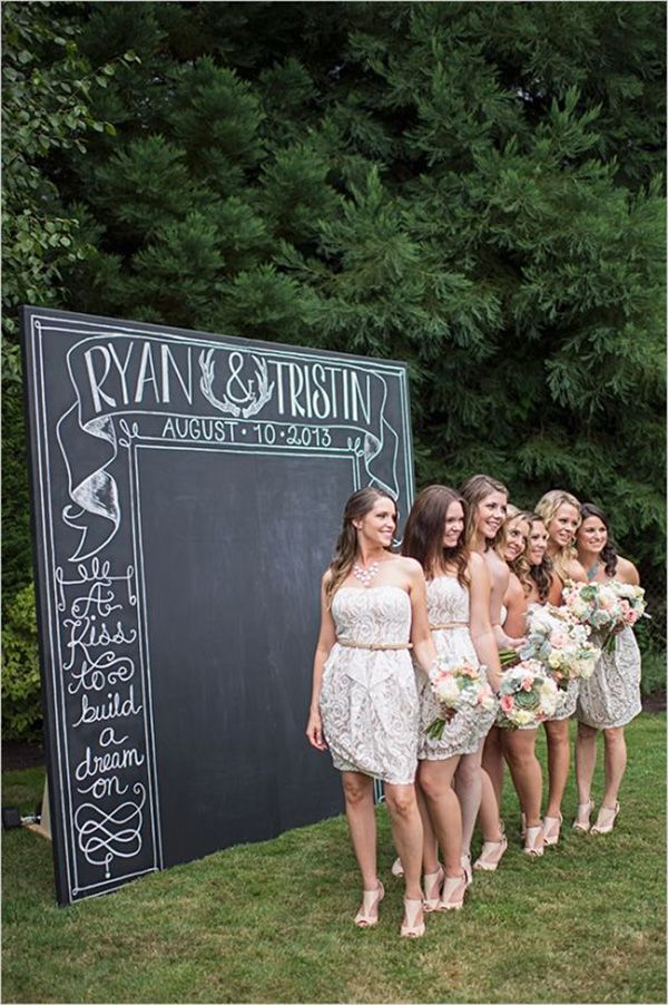 Make your own chalkboard backdrop for a photo booth! This post has tons of great ideas for a more affordable and unique wedding photo booth.