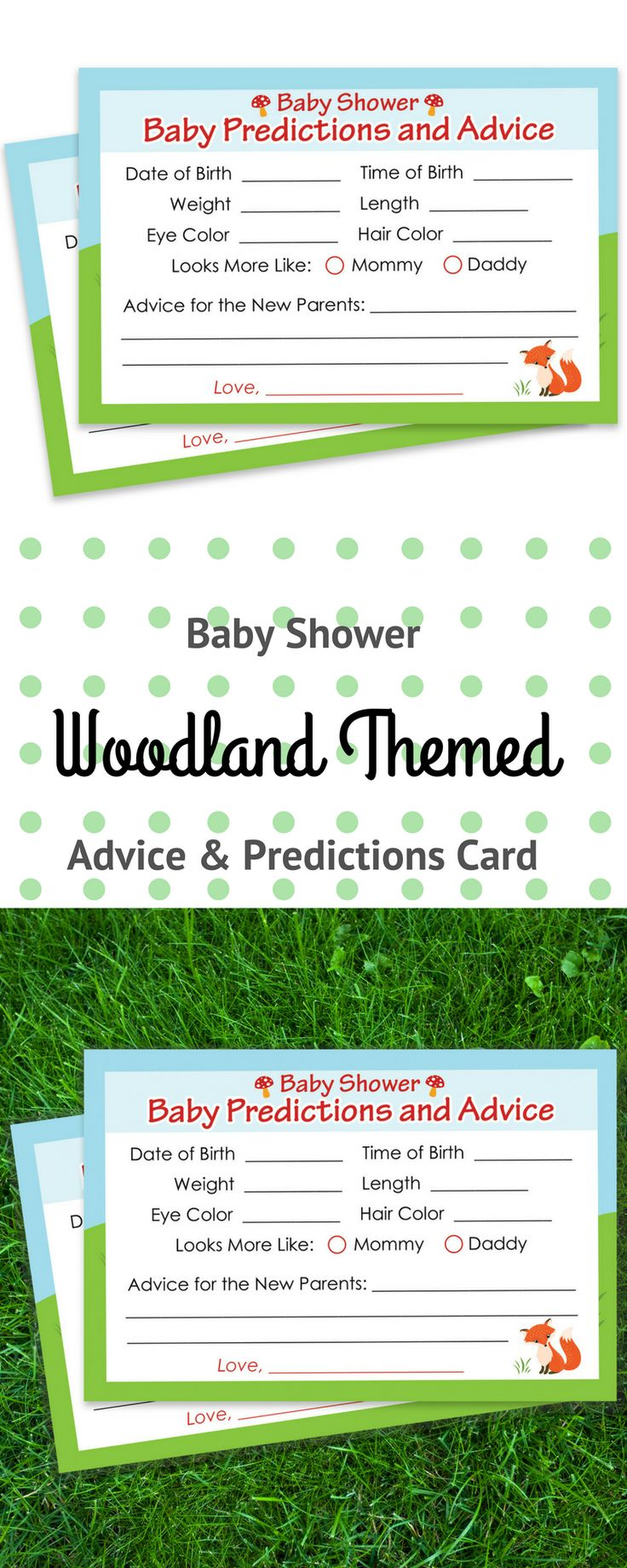 Baby Shower Advice and Predictions Cards - for Up to 20 Guests.Woodland AnimalsThemeis Perfect for OutdoorBaby Showers, Boy Baby Showers, or Gender Neutral Baby Showers. #woodlandbabyprediction #babyshowergame #woodlandbabyshower #woodlandanimals