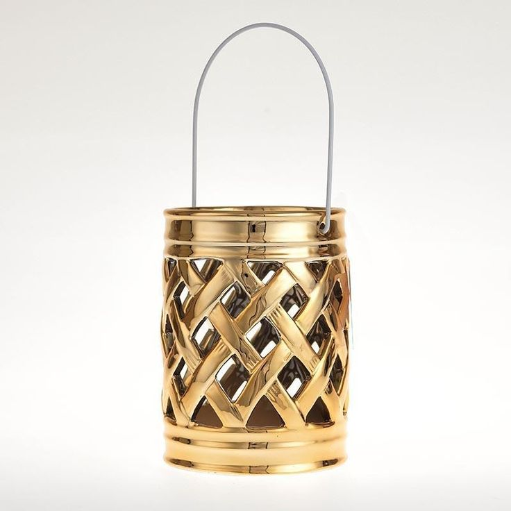 #Christmas ceramic lantern in #gold color. www.inart.com
