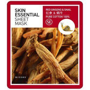Ansiktsmask: MISSHA Skin Essential Sheet Mask Ginseng & Snail 25 kr/st från bonnybonny
