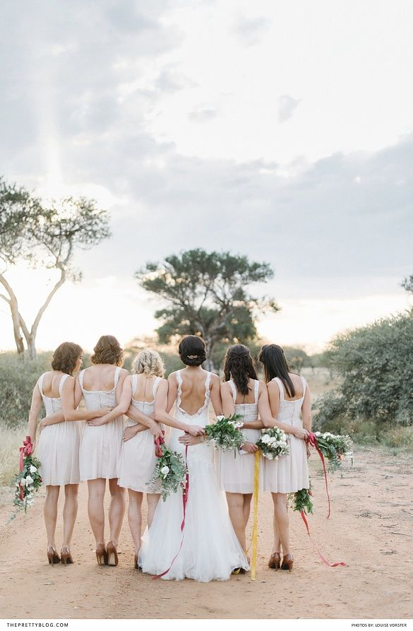 Long wedding dress with open back and lace detailing and bridesmaids in short cream dreses   Venue: Bordeaux Game Farm   Photographers: Louise Vorster Photography   Wedding dress: Joss Bridal Wear   Flowers: Bloom Floral Design   Make-up: Opgedollie   Jewellery & Accesories: Lorean Jewellery   Hair: Tharien du Toit  