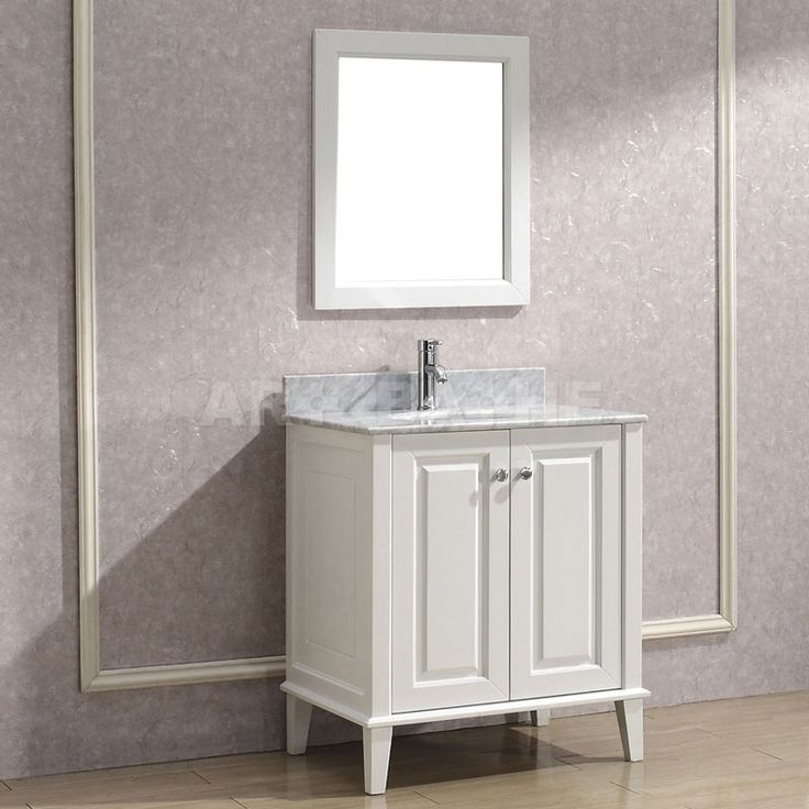 Art Bathe Lily 30 White Bathroom Vanity, Solid Hardwood Vanity With  Soft-closing Doors