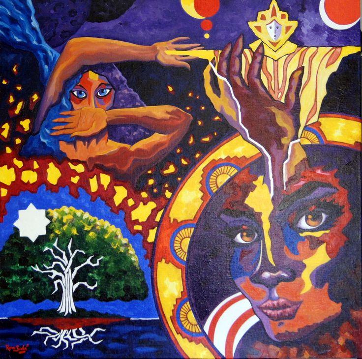#379 Génesis de la imaginación II - Autor: RomSabi, acrílico y esmaltes, sobre tabla de madera - 80 x 80 cm -