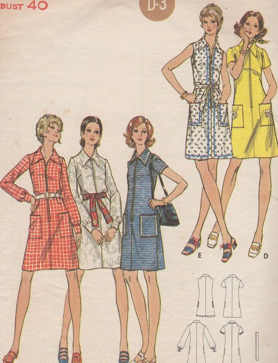 1960's Misses' Full Figure Dress Butterick 6144 Size 18 by HelaQ, $8.00