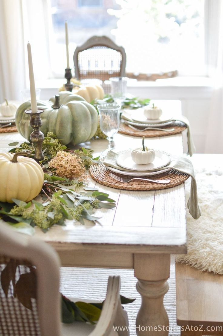 25 best ideas about fall table on pinterest fall table centerpieces white pumpkins and fall - Fall dining room table decorating ideas ...