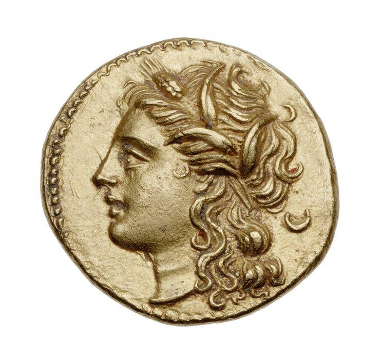 Dracma - oro - Siracusa, Sicilia (274-216 a.C.) Persefone di profilo vs.sn. con lunghi riccioli e corona di steli di grano - Gerone II - Museum of Fine Arts, Boston