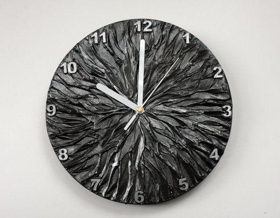 #silver #gray #wallclock #dark Metallic Gray Wall Clock Dark Silver Home Decor Unique by PilipArt
