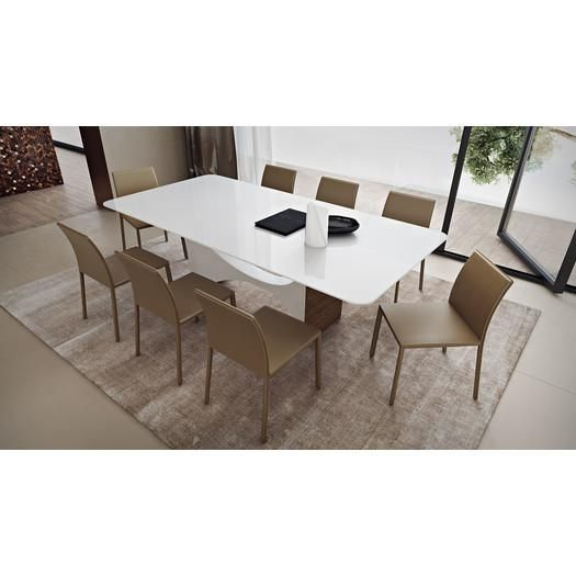 moon dining table gubi half shaped white the sports highly sculptural design dual tapered pedestal base rounded corners glass top