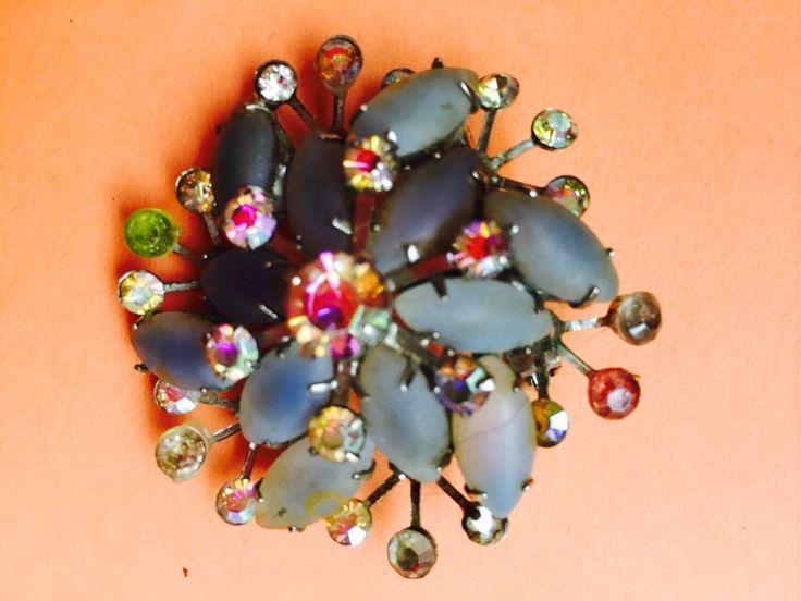 Vintage Brooch with Rhinestones and Aurora Borealis by VintageVixens1 on Etsy
