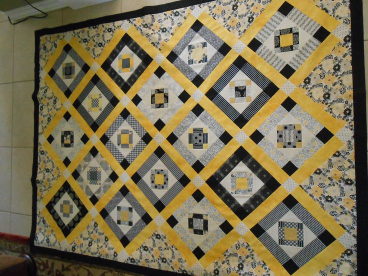 52 best quilts yellow grey white images on pinterest for Black white and gray quilt patterns