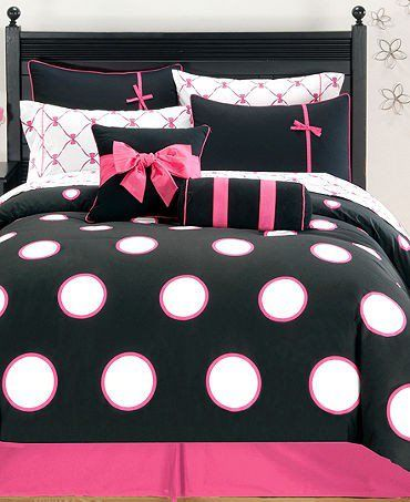 Hot pink and black with white poka dots. A teenagers dream room