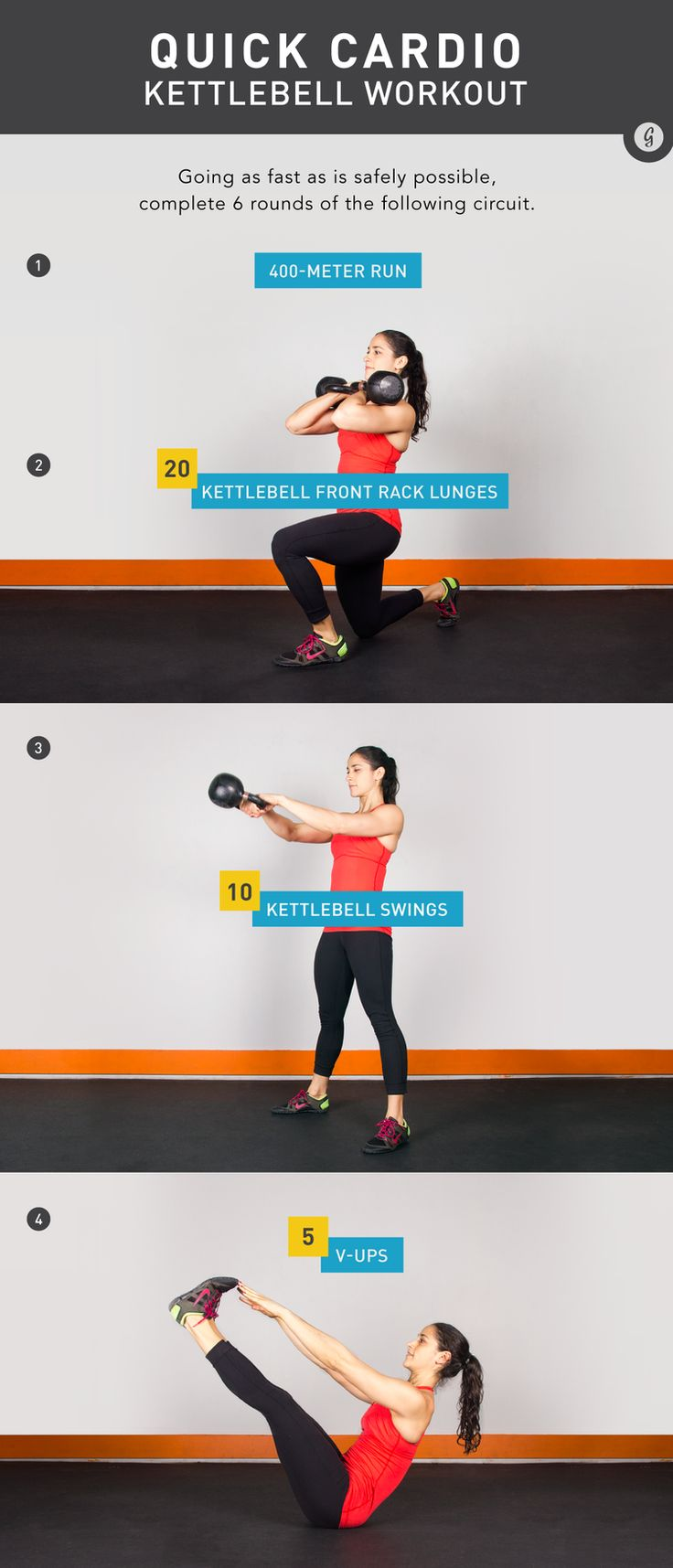 This quick routine provides a total-body workout that will challenge your strength as well as your conditioning. #fitness #workout #cardio