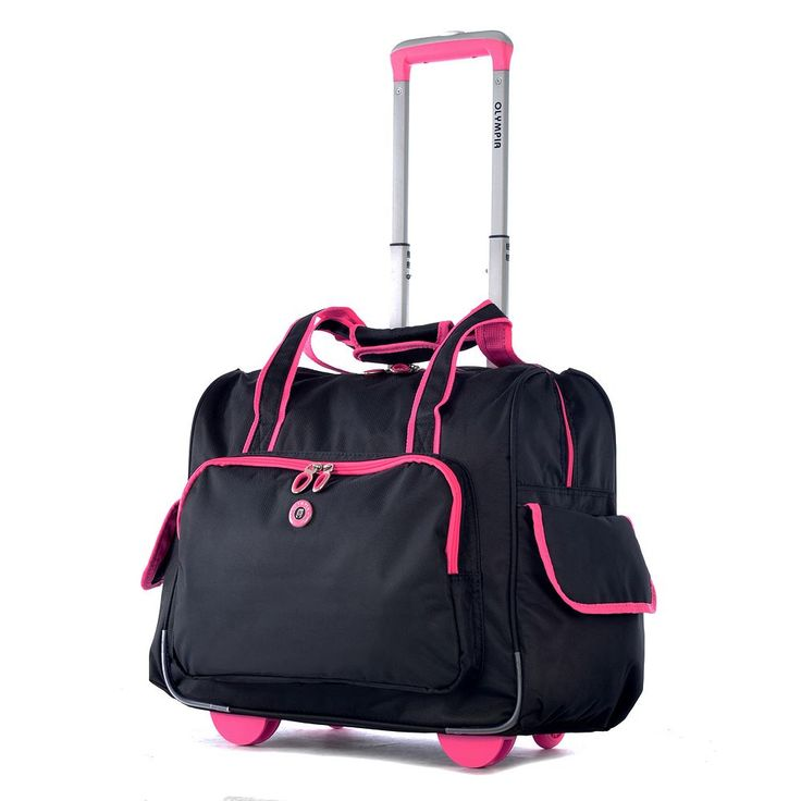 Olympia Rave 15-Inch Laptop Wheeled Overnighter Bag, Pink