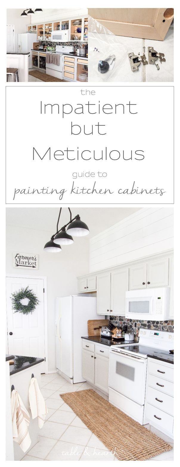 The Impatient-but-Meticulous Way to Paint Your Kitchen Cabinets, complete with a project and supply checklist!!
