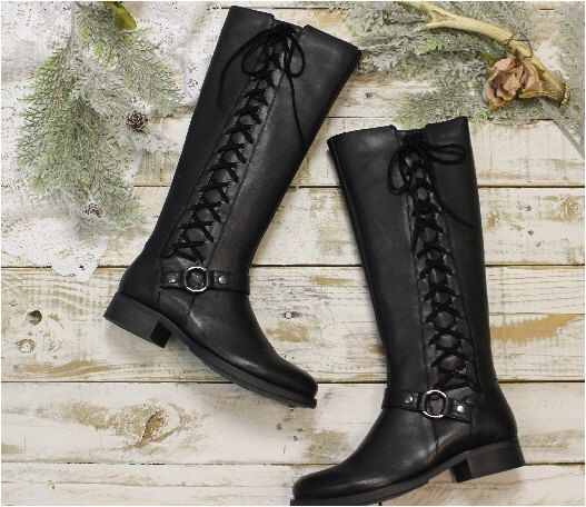 Black leather look side lace up boot, women tall boots, boots  lacing. winter boots, cute boots ties, ladies fall boots, riding boots,  shoe by VerveandSpirit on Etsy https://www.etsy.com/listing/238775717/black-leather-look-side-lace-up-boot