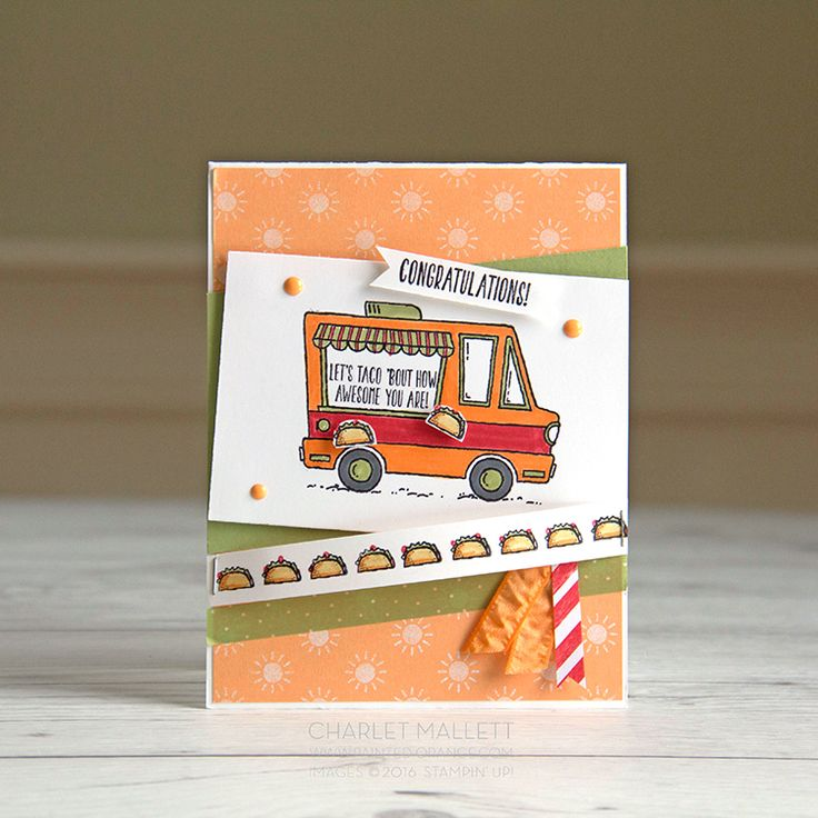 Here are a few more projects featuring the Sale a bration Stamp set, Tasty  Trucks.This is a super fun set that you can earn free with any 50$  Stampin' Up!purchase. This set is also this weeks challenge stamp set on  the What Will You Stamp blog, hop on over to see more Food Truck goodness.  YUM, yum!!!  Tacos anyone? Card made with Tasty Trucks Stamp Set, Stampin'Up!  Yum, Yum, taco border.Tacos anyone? Card made with Tasty Trucks Stamp Set,  Stampin'Up!  Tasty Trucks shake...