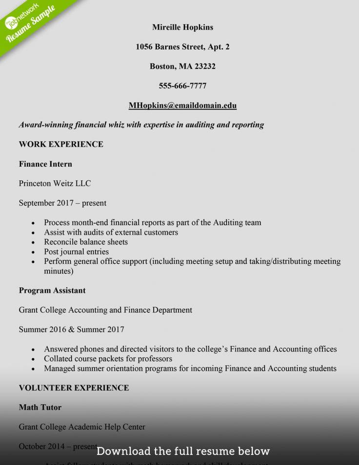 internship resume sample for college students