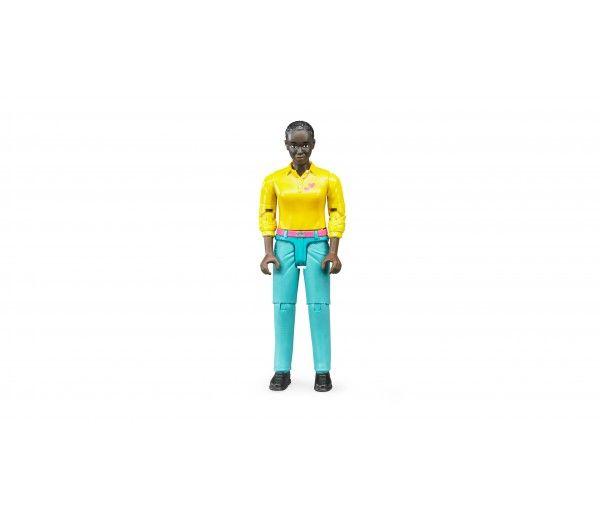 Bruder - Vrouw met lichtblauwe broek en geel shirt - 60404 - https://www.bentoys.nl/nl/speelgoed/merken/bruder/bworld/54-vrouw-met-lichtblauwe-broek-en-geel-shirt.html