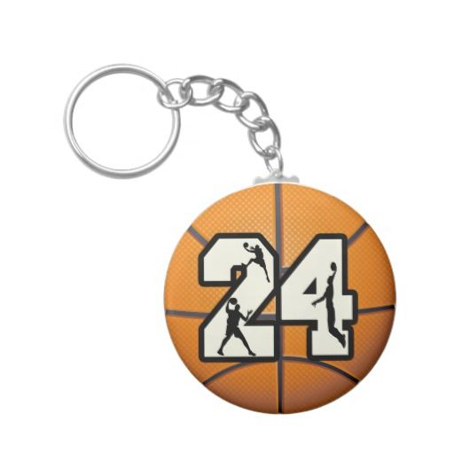Number 24 Basketball Key Chain | Zazzle
