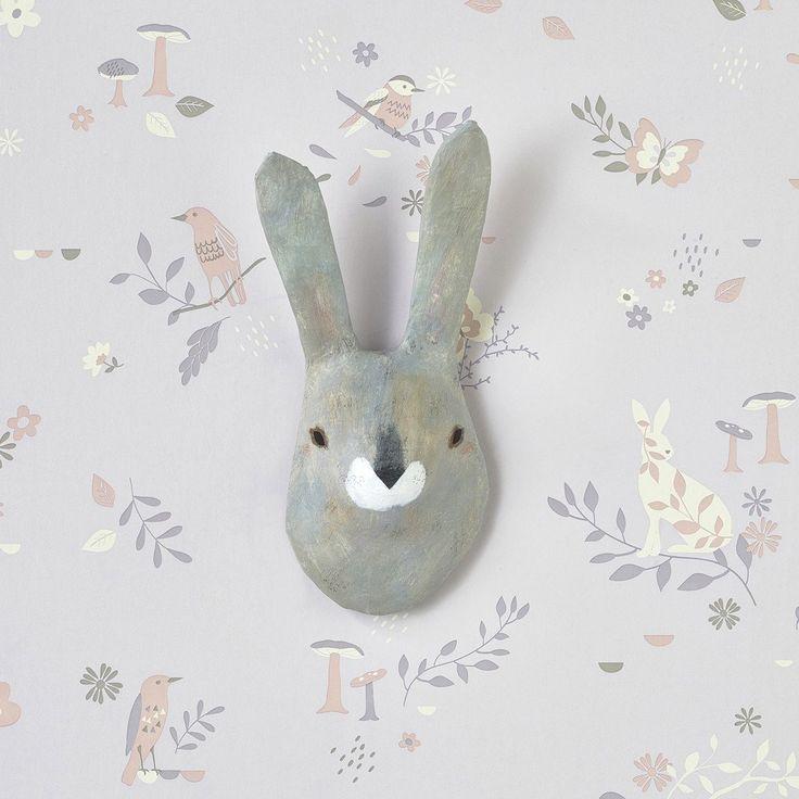 Grey Rabbit Paper Mâché Animal Head