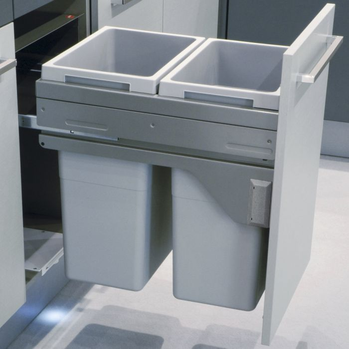 Good alternative - more expensive but soft close 450mm door <p>This Hailo Euro Cargo bin is our largest capacity bin for a 450mm door cabinet with pull-out doors. With two 38L buckets, you can sort and discard your recycling and waste and then slide them back on soft-close runners. Note this bin requires a minimum depth of 530mm. This Euro Cargo features top quality materials and precision design to ensure long-lasting functionality.</p>