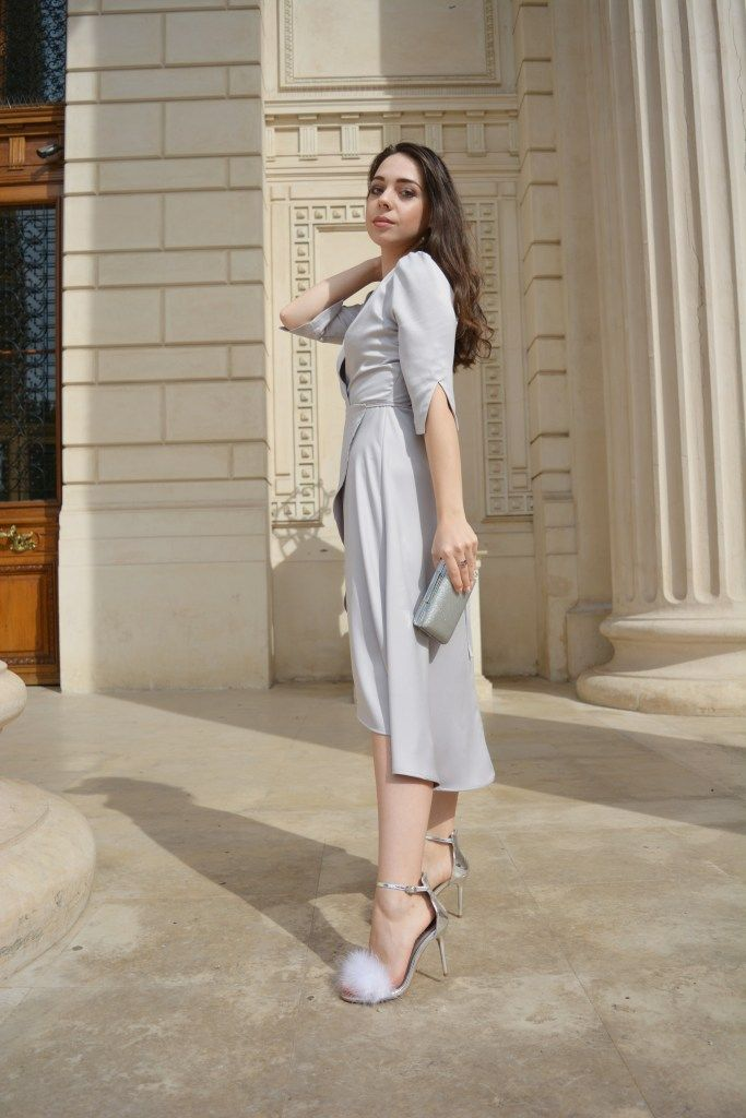 Silver Grey Dress Sparkling Clutch and Flurry Sandals