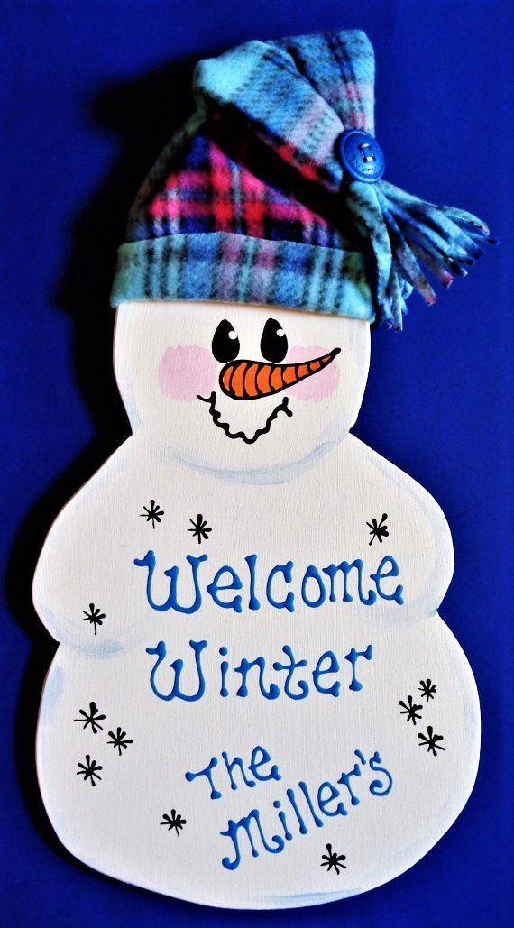 SNOWMAN SIGN Winter Christmas Holiday Wall Art Door Wood Hanger Plaque Decor