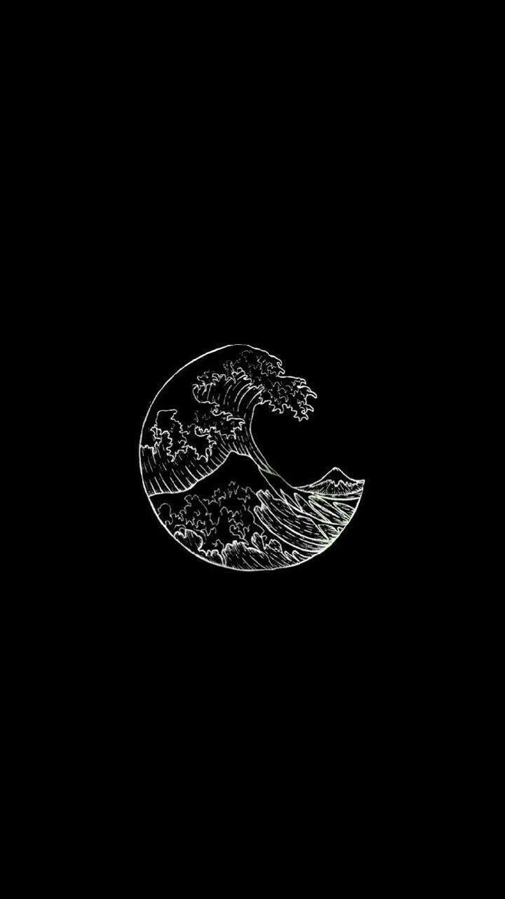 Wellen schwarz weiß ästhetische Tumblr Wandverkl… – #ästhetische #Schwarz #…