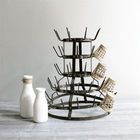Decorating with vintage French bottle drying racks