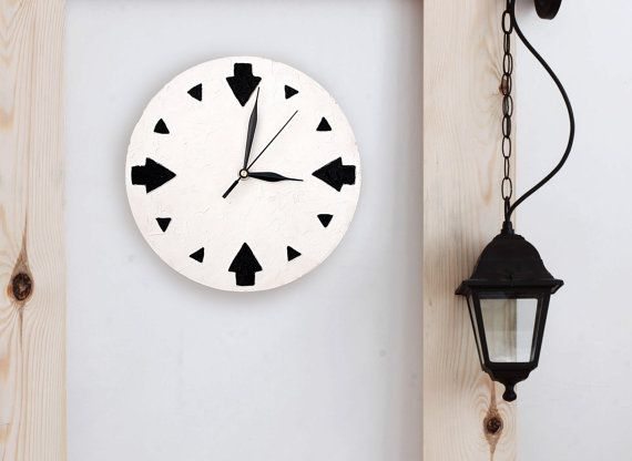 #white #minimalism #geometric #homedecor #wallclock WALL CLOCK GEOMETRIC home decor minimalist  black and by PilipArt