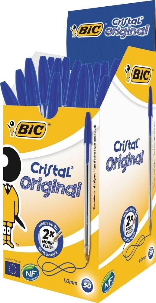 Bolígrafo BiC Cristal de Punta Redonda 50 Unidades AZUL