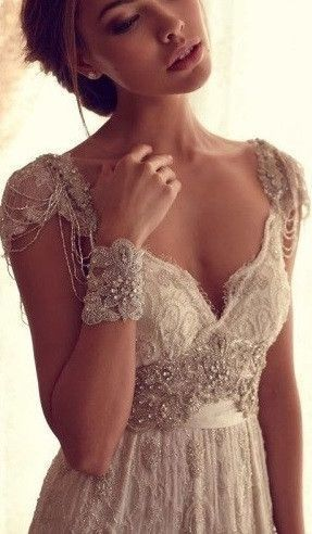 Vintage lace wedding dress with crystal beads embellishment