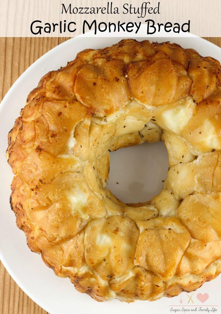 Mozzarella Stuffed Garlic Monkey Bread Recipe - Sugar, Spice and Family Life