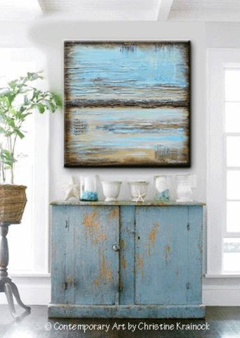 """GICLEE PRINT Blue Abstract Painting """"Blue Serenity"""" Blue Brown Modern Urban Canvas Print Coastal Wall Art Beach Artwork Light Blue Beige Wall Decor LARGE Artwork, Select Sizes - by Contemporary Artist, Christine Krainock - Contemporary Art by Christine"""