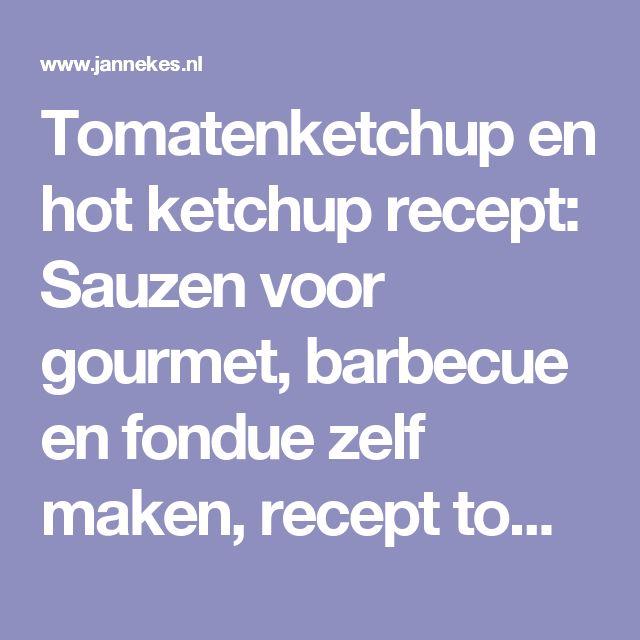 Tomatenketchup en hot ketchup recept: Sauzen voor gourmet, barbecue en fondue zelf maken, recept tomaten ketchup