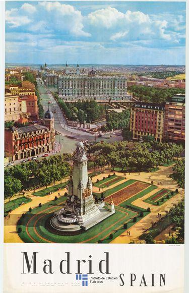 Madrid en un póster de turismo de 1962 de Madrid. Nos ha encantado y vamos a reservar estancia en www.ilunionhotels.com/hoteles-en-madrid.htm