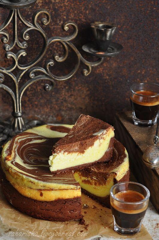 Мраморный творожно-кофейный пирог